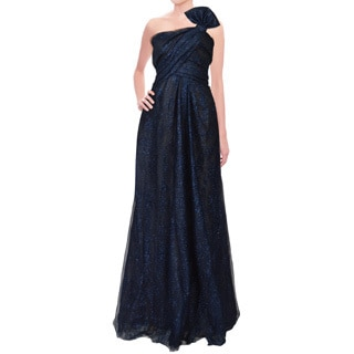 Rene Ruiz Metallic Blue Layered Tulle Bow Strapless Evening Dress