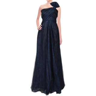 Rene Ruiz Metallic Blue Layered Tulle Bow Strapless Evening Dress