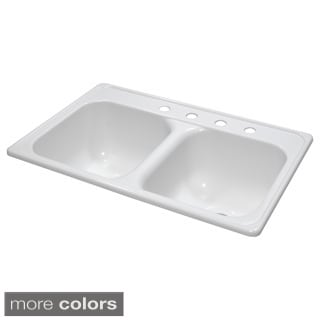 Lyons Deluxe Dual Bowl Acrylic 10-inch Deep Kitchen Sink With Four Faucet Holes