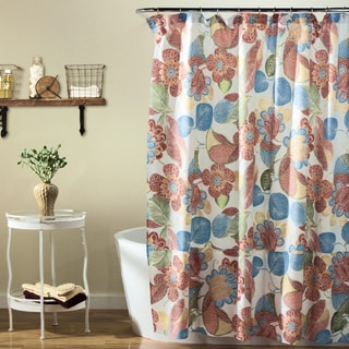 Lush Decor Layla Orange/ Blue Shower Curtain