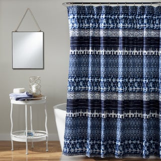 Lush Decor Lambert Tie Dye Navy Shower Curtain