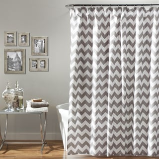 Lush Decor Chevron Gray/ White Shower Curtain