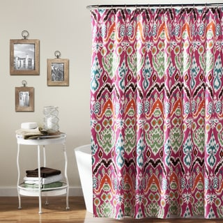 Lush Decor Jaipur Ikat Fuchsia Shower Curtain