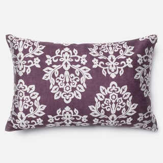 Elizabeth Plum/ Silver Damask Down Feather or Polyester Filled 13x21 Throw Pillow or Pillow Cover