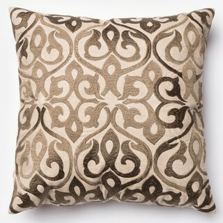 Adeline Bronze Ironwork Damask Feather and Down Filled or Polyester Filled 18-inch Throw Pillow or Pillow Cover