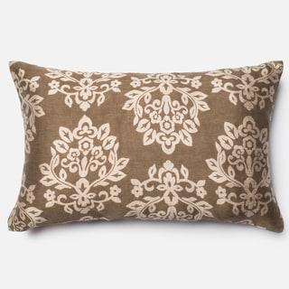 Elizabeth Bronze Damask Down Feather Fill or Polyester Filled 13x 21 Throw Pillow or Pillow Cover