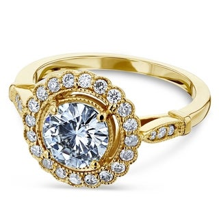 Annello 14k Yellow Gold Round Moissanite and 1/3ct TDW Diamond Antique Floral Engagement Ring (G-H, I1-I2)