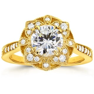 Annello 14k Yellow Gold Round Moissanite and 1/4ct TDW Diamond Antique Floral Engagement Ring (G-H, I1-I2)