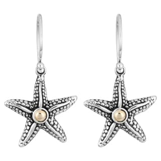 18K Gold Sterling Silver 'Balinese Starfish' Cawi Earrings (Indonesia)