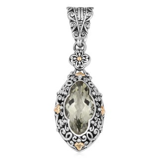 18K Gold Sterling Silver Green Quartz Teardrop Cawi Pendant (Indonesia)