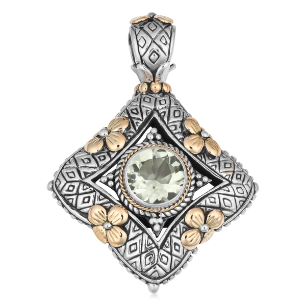 18K Gold Sterling Silver Green Amethyst Cawi Pendant (Indonesia)