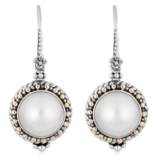 18K Gold Sterling Silver Cultured Pearls 'Princess Fantasy' Earrings (Indonesia)