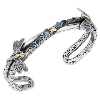 18K Gold Sterling Silver Blue Topaz 'Dragonfly Cawi' Cuff Bracelet (Indonesia)