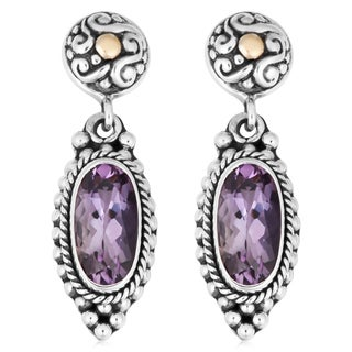 18K Gold Sterling Silver Amethyst Cawi Earrings (Indonesia)