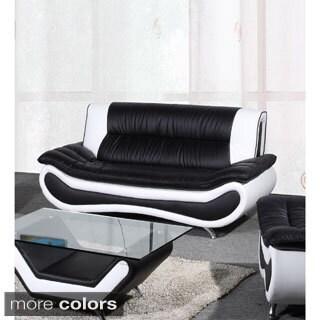 Christina Leather Modern Living Room Loveseat Set