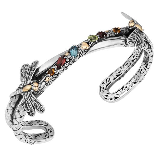 18K Gold Sterling Silver Multi-Gemstone 'Dragonfly Cawi' Cuff Bracelet (Indonesia)