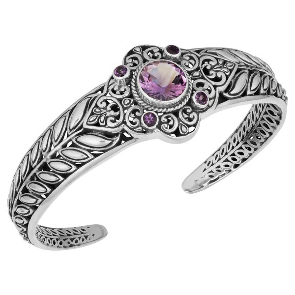 Sterling Silver Amethyst 'Divine Cawi' Cuff Bracelet (Indonesia)