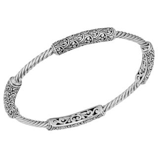 Sterling Silver 'Balinese Gust' Cawi Bangle Bracelet (Indonesia)