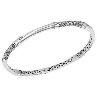 Sterling Silver 'Bamboo Art' Cawi Bangle Bracelet (Indonesia)