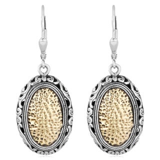 18K Gold Sterling Silver 'Balinese Floral' Cawi Dangle Earrings (Indonesia)