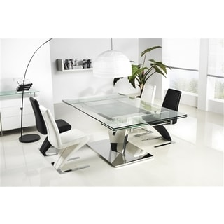 Diamond Collection Steel and Glass Dining Table by Casabianca Home