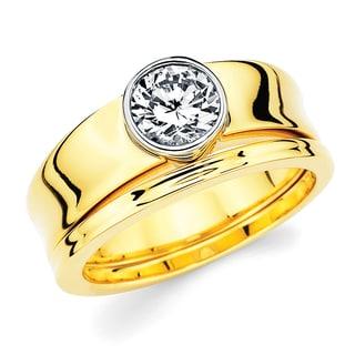 Boston Bay Diamonds 14k Two-tone Gold 1/2ct TDW Diamond Contemporary Bridal Ring Set (G-H, SI1-SI2)