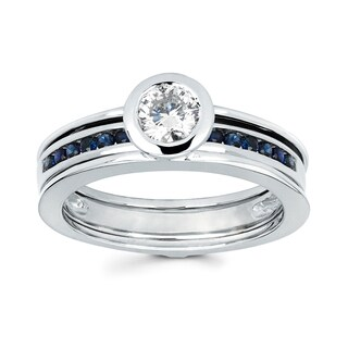 Boston Bay Diamonds Love Lock 14k White Gold 1/2ct TDW Diamond and Blue Sapphire Contemporary Bridal Set (G-H, SI1-SI2)