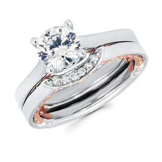 Boston Bay Diamonds 14k White and Rose Gold Accent 1 1/8ct TDW Diamond Bridal Set (G-H, SI1-SI2)