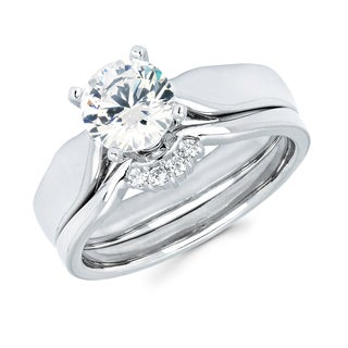 Boston Bay Diamonds 14k White Gold 1ct TDW Diamond Solitaire Bridal Set (G-H, SI1-SI2)