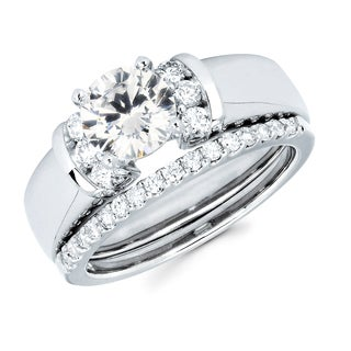 14k White Gold 1 1/3ct TDW Round Diamond Bridal Set (G-H, SI1-SI2)