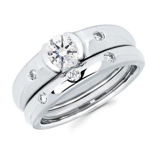 Boston Bay Diamonds 14k White Gold 5/8ct TDW Contemporary Diamond Bridal Set (G-H, SI1-SI2)
