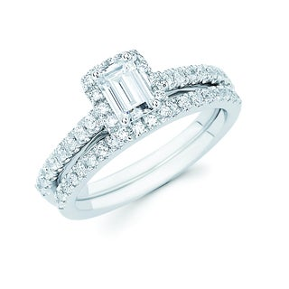 Boston Bay Diamonds 14k White Gold 1ct TDW Emerald-cut Center Bridal Ring Set (H-I, SI1-SI2)