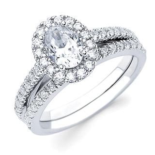Boston Bay Diamonds 14k White Gold 3/4ct TDW Oval-cut Diamond Bridal Set (G-H, SI1-SI2)