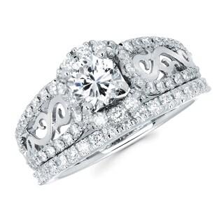 Boston Bay Diamonds 14k White Gold 1 1/2ct TDW Diamond Filigree Design Bridal Set (G-H, SI1-SI2)
