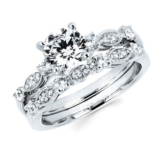 Boston Bay Diamonds 14k White Gold 1 3/8ct TDW Diamond Milgrain Bridal Set (G-H, SI1-SI2)