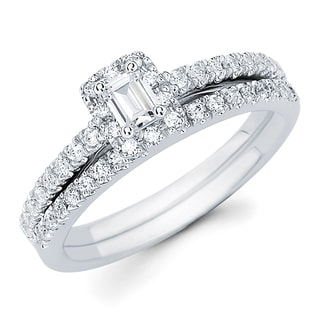 Boston Bay Diamonds 14k White Gold 5/8ct TDW Emerald-cut Center with Round Side Diamonds Bridal Set