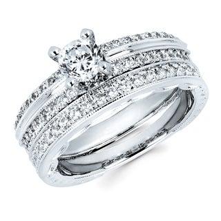 Boston Bay Diamonds 14k White Gold 3/4ct TDW Classic Diamond Bridal Set (H-I, SI2-I1)