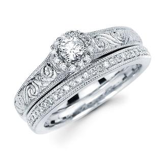 Boston Bay Diamonds 14k White Gold 3/8ct TDW Diamond Bridal Set (H-I, SI2-I1)