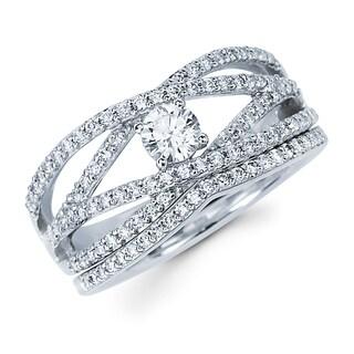 Boston Bay Diamonds 14k White Gold 1/4ct TDW Diamond Open Multi-row Bridal Ring Set (H-I, SI2-I1)