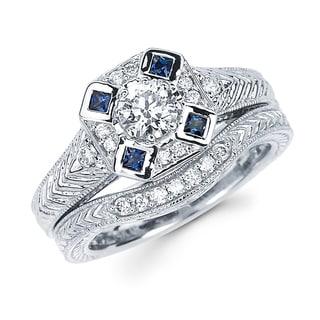Boston Bay Diamonds 14k White Gold 3/5ct TDW Diamond and Blue Sapphire Bridal Ring Set (H-I, SI2-I1)