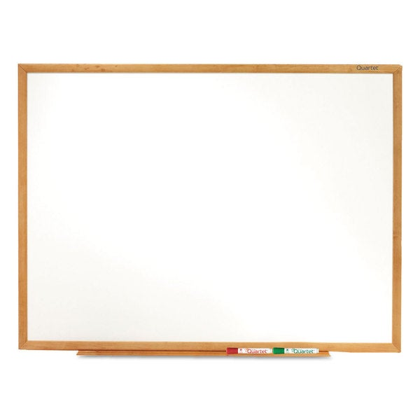 Quartet Classic Oak Finish Frame Melamine Whiteboard