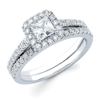 Boston Bay Diamonds 14k White Gold 1ct TDW Princess-cut Diamond Bridal Set (H-I)(SI1-SI2)