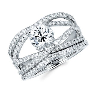 Boston Bay Diamonds 14k White Gold 1 1/2ct TDW Diamond Crossover Bridal Set (G-H, SI1-SI2)