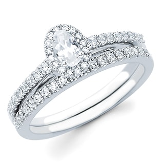 Boston Bay Diamonds 14k White Gold 5/8ct TDW Diamond Halo Bridal Set (H-I, SI2-I1)