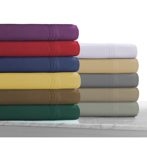 Super Soft Solid Deep Pocket Easy-Care Sheet Set with Oversize Flat