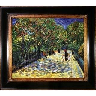 Vincent Van Gogh 'Avenue with Flowering Chestnut Trees at Arles' Hand Painted Framed Canvas Art