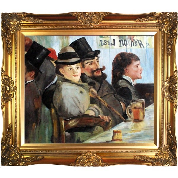 Edouard Manet 'At The Caf' Hand Painted Framed Canvas Art