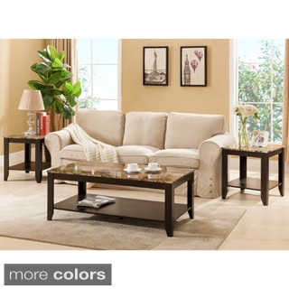 Furniture of America Brietta Contemporary 3-piece Faux Marble Top Accent Table Set