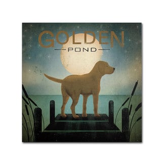 Ryan Fowler 'Moonrise Yellow Dog Golden Pond' Canvas Art