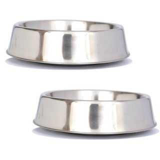 Iconic Pet 2 Pack Anti-Ant Stainless Steel Non-Skid Pet Bowl